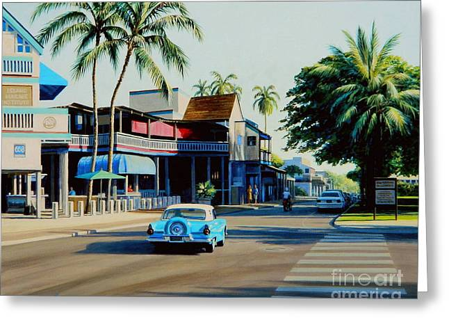 Downtown Lahaina Maui Greeting Card by Frank Dalton