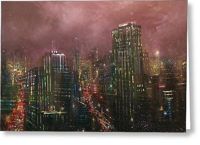 City Lights Greeting Cards - Downtown Lights Greeting Card by Tom Shropshire