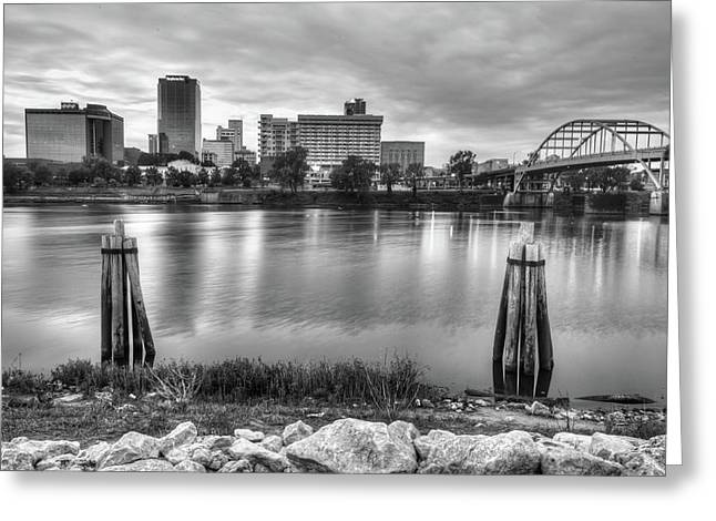 Downtown Little Rock Arkansas Skyline On The Water - Black And White Greeting Card by Gregory Ballos
