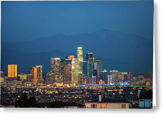 Downtown Los Angeles Skyline At Night Greeting Card