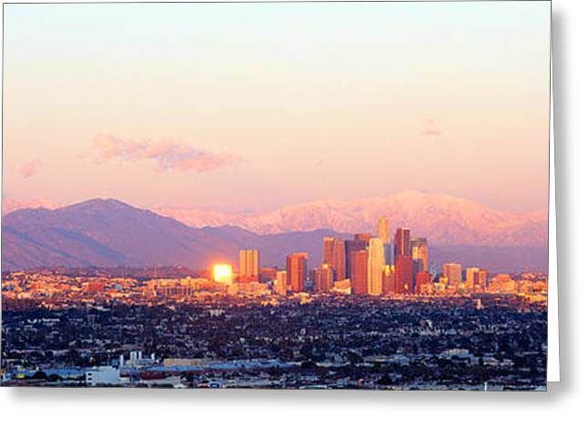 Downtown Los Angeles, Sunset, California Greeting Card by Panoramic Images