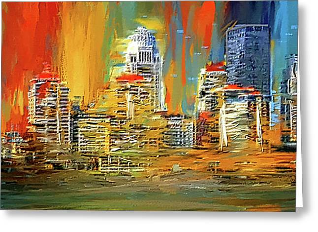 Downtown Louisville - Colorful Abstract Art Greeting Card