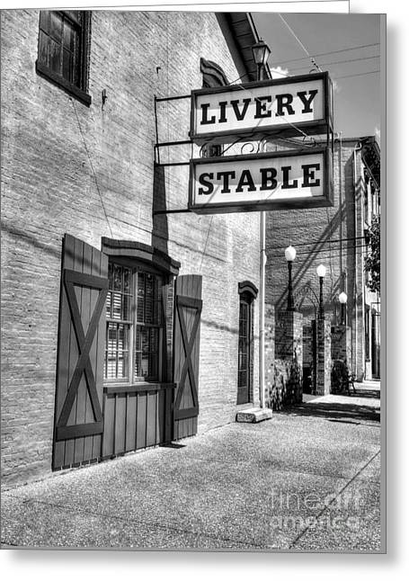 Downtown Madison Indiana Bw Greeting Card by Mel Steinhauer