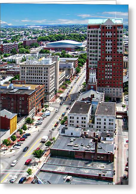 Downtown Manchester Greeting Card by Anthony Dezenzio