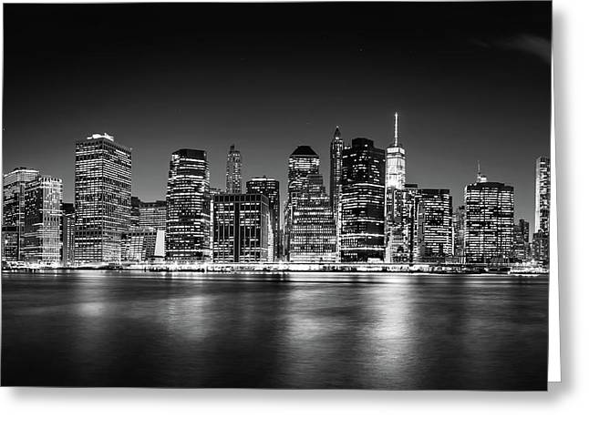 Downtown Manhattan Bw Greeting Card