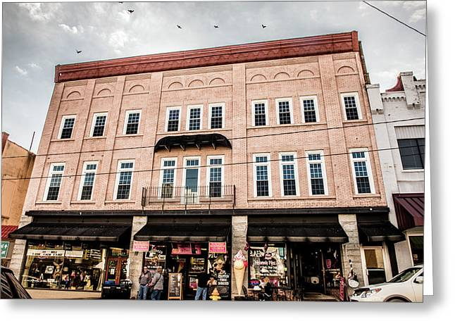 Downtown Mayberry Greeting Card by Cynthia Wolfe