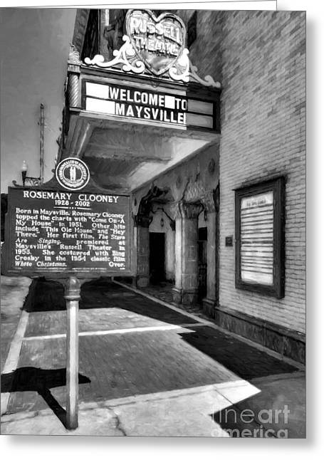 Downtown Maysville Kentucky Black And White Greeting Card by Mel Steinhauer