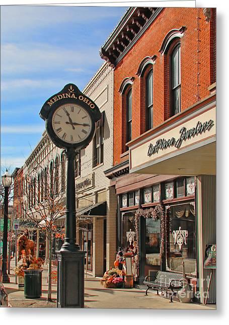 Downtown Medina Ohio  2223 Greeting Card by Jack Schultz