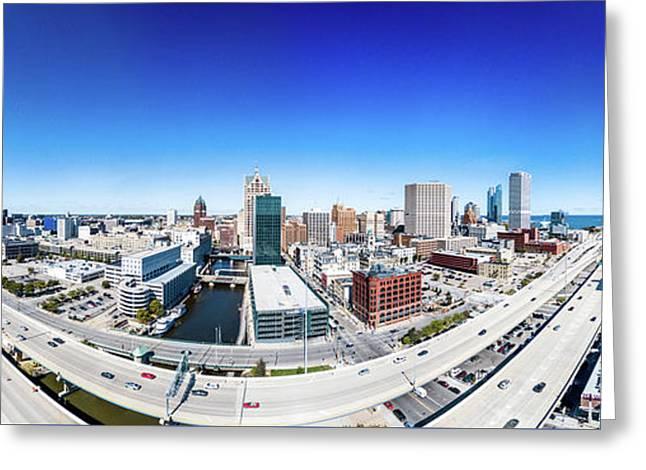 Greeting Card featuring the photograph Downtown Milwaukee From 200 Feet by Randy Scherkenbach