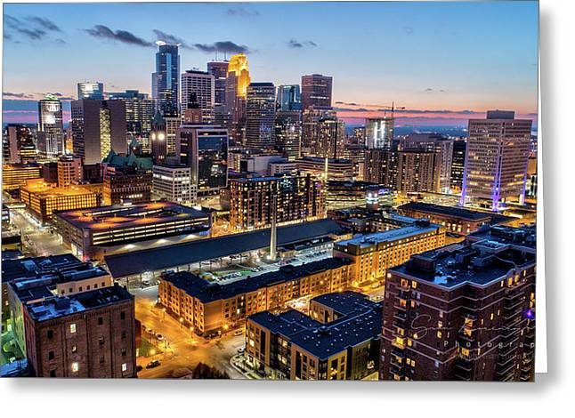 Downtown Minneapolis At Dusk Greeting Card