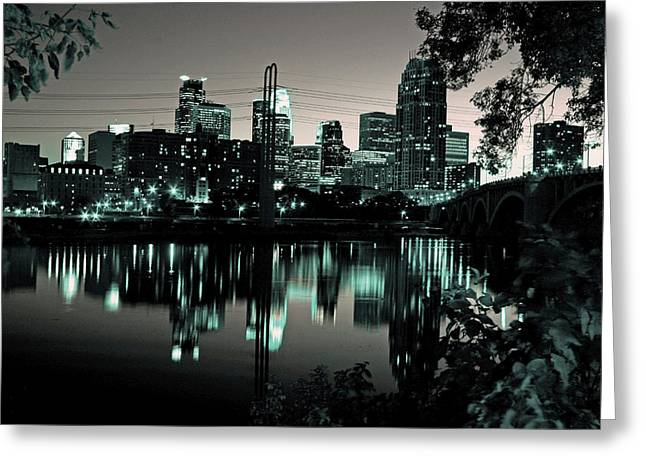Downtown Minneapolis At Night II Greeting Card