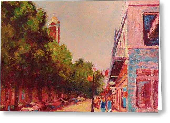 Downtown Mobile On Dauphin By Cathedral Park Greeting Card