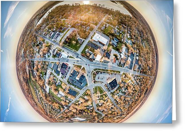Greeting Card featuring the photograph Downtown Mukwonago Little Planet by Randy Scherkenbach