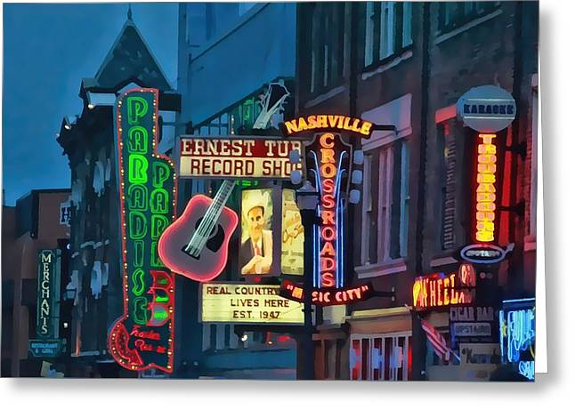 Downtown Nashville At Dusk Greeting Card