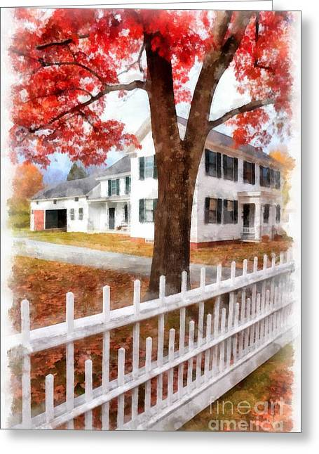 Downtown Norwich Vermont Picket Fence Greeting Card by Edward Fielding