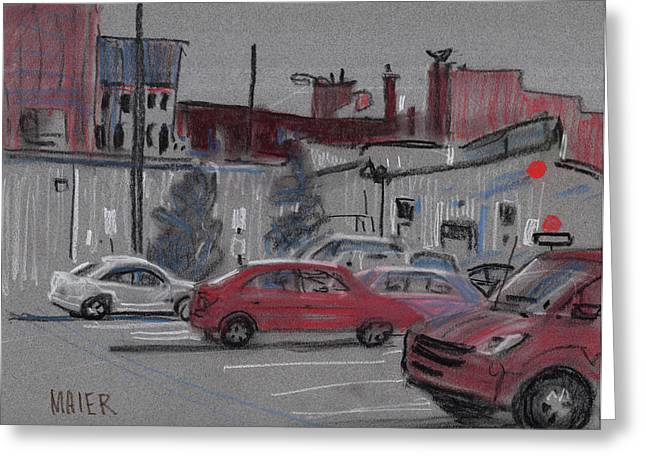Downtown Parking Greeting Card by Donald Maier