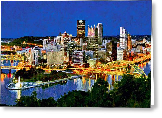 Greeting Card featuring the digital art Downtown Pittsburgh At Twilight by Digital Photographic Arts