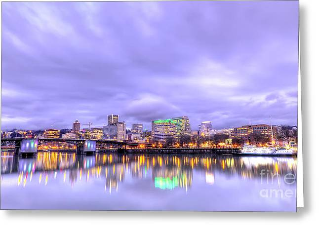 Downtown Portland Oregon Waterfront Sunset Clouds Greeting Card by Dustin K Ryan