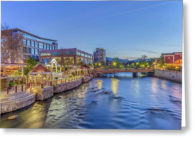 Greeting Card featuring the photograph Downtown Reno Along The Truckee River by Scott McGuire