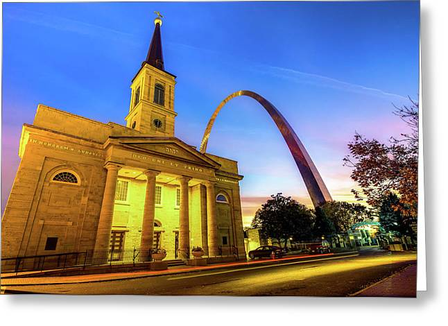 Downtown Saint Louis Arch And The Old Cathedral - Basilica Of St. Louis Greeting Card by Gregory Ballos