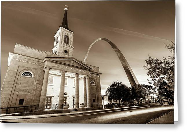 Downtown Saint Louis Arch And The Old Cathedral - Basilica Of St. Louis In Sepia Greeting Card by Gregory Ballos
