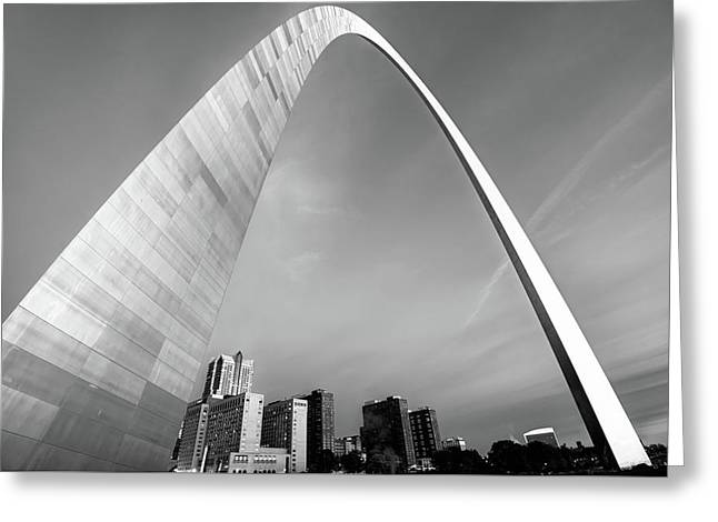 Downtown Saint Louis Skyline Under The Arch - Black And White Greeting Card by Gregory Ballos