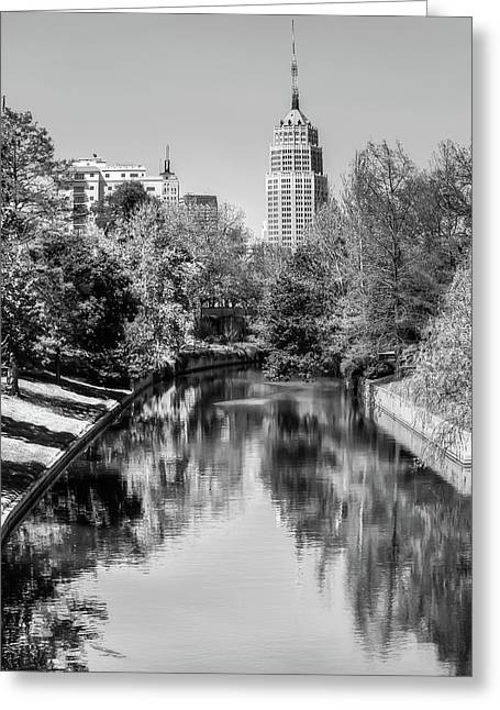 Downtown San Antonio Skyline On The River In Black And White Greeting Card