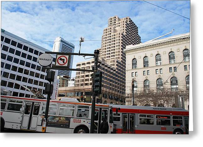 Downtown San Francisco - Market Street Buses Greeting Card by Matt Harang