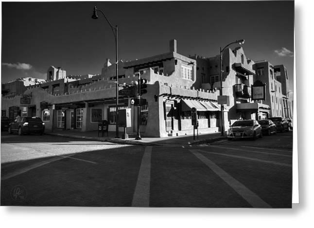 Downtown Santa Fe 001 Bw Greeting Card by Lance Vaughn