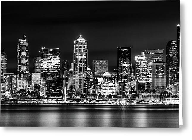 Downtown Seattle At Night Black And White Greeting Card by TL  Mair