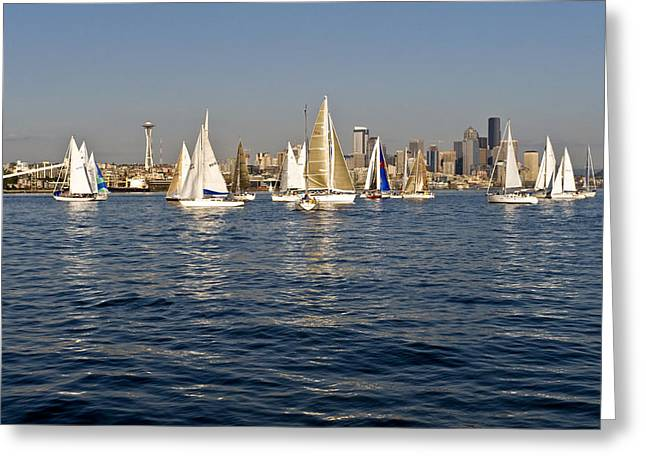 Downtown Seattle Greeting Card by Tom Dowd