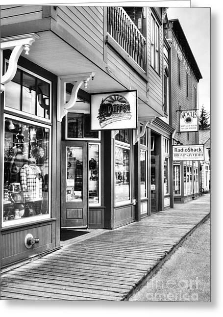 Downtown Skagway Bw Greeting Card by Mel Steinhauer