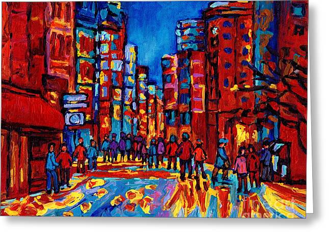 Downtown Skyline City After The Rain Montreal Skyscapers Rue Ste. Catherine Canadian Art Greeting Card