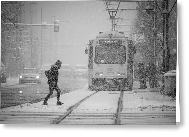 Downtown Snow Storm Greeting Card