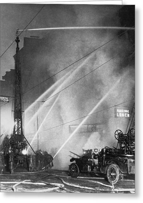 Downtown Syracuse Fire Greeting Card by Underwood Archives