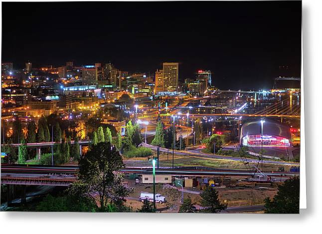 Downtown Tacoma Night Greeting Card