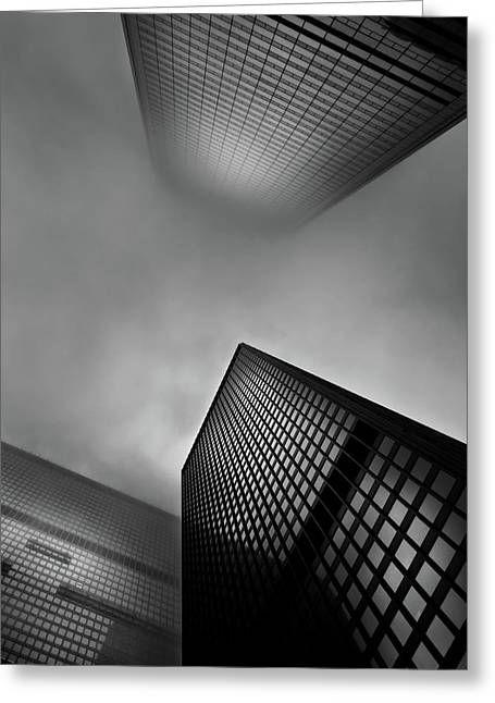Greeting Card featuring the photograph Downtown Toronto Fogfest No 1 by Brian Carson