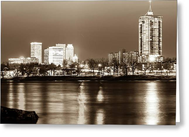 Downtown Tulsa Cityscape Skyline - Sepia Edition - Square Format  Greeting Card by Gregory Ballos