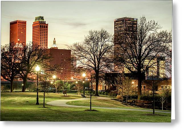 Downtown Tulsa Oklahoma Skyline. Ca. 2011 - Lighting Up The Night Greeting Card