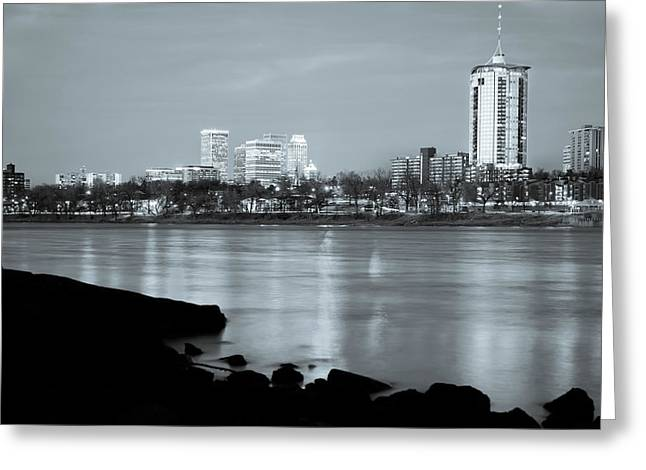 Downtown Tulsa Oklahoma - University Tower View - Black And White Greeting Card