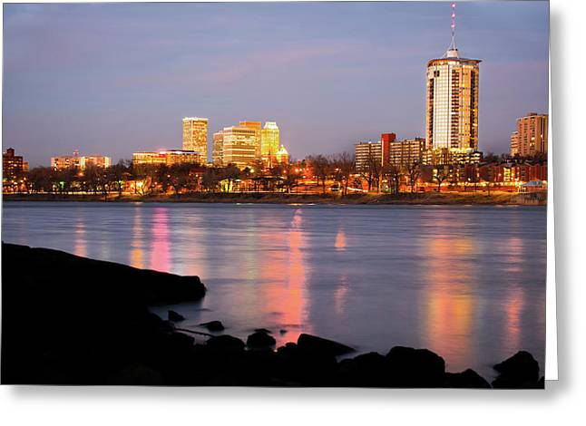 Downtown Tulsa Oklahoma - University Tower View Greeting Card by Gregory Ballos