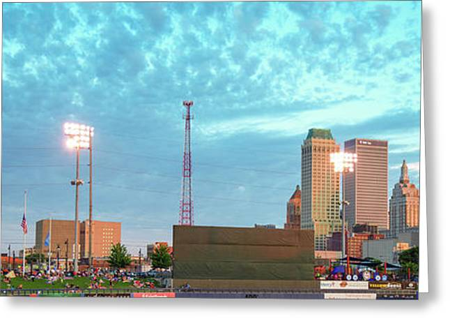 Downtown Tulsa Skyline Panoramic From Oneok Stadium Greeting Card by Gregory Ballos