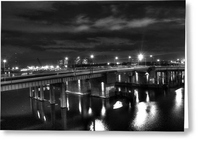 Downtown Tunnel Bridge Black And White Greeting Card