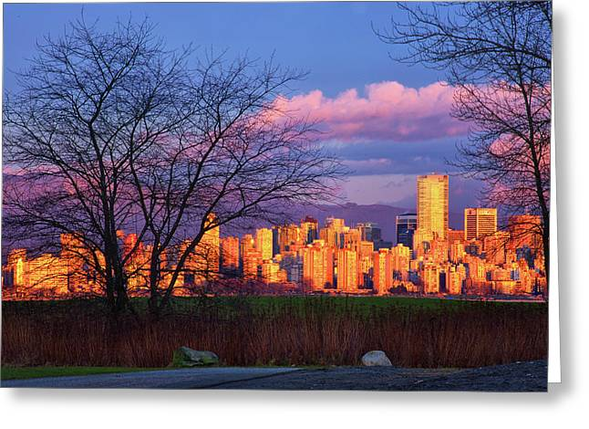 Downtown Vancouver Greeting Card by Paul Kloschinsky