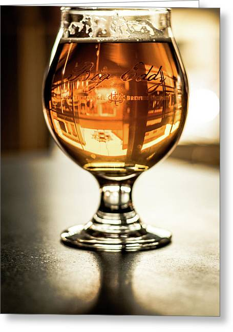 Downtown Waukesha Through A Glass Of Beer At Bernie's Taproom Greeting Card