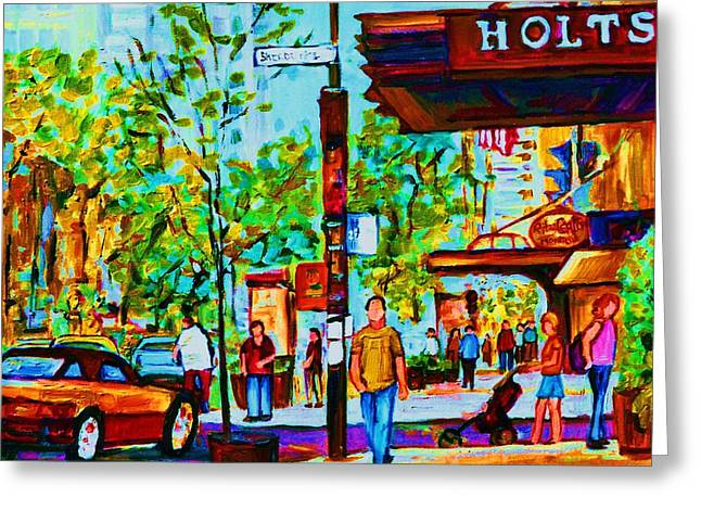 Downtowns Popping Greeting Card by Carole Spandau