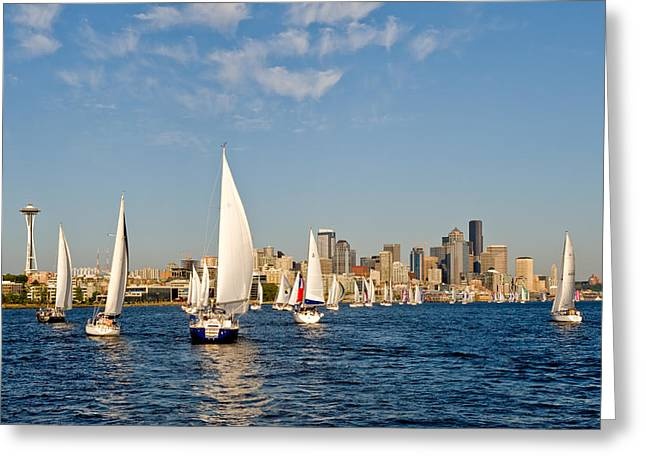 Downtwon Seattle Waterfront Greeting Card by Tom Dowd
