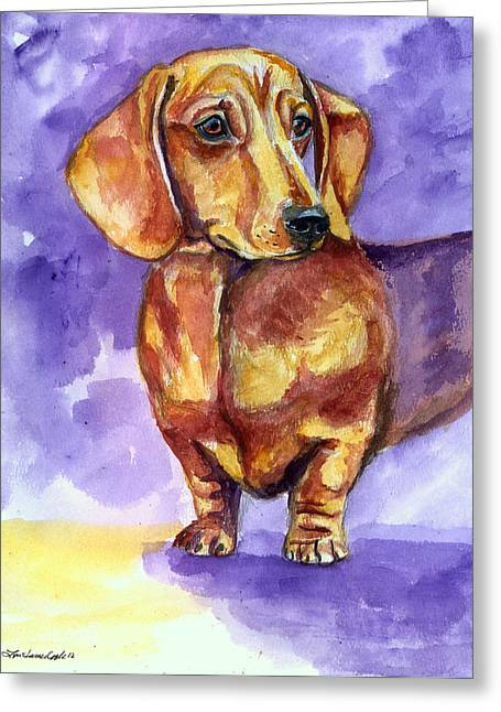 Doxie Greeting Cards - Doxie - Dachshund Dog Greeting Card by Lyn Cook