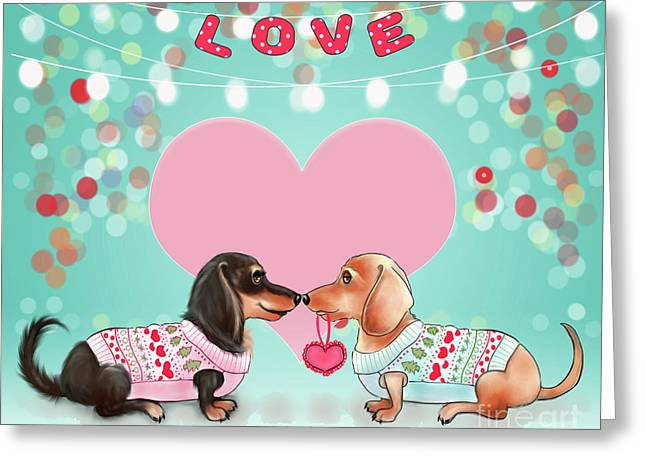 Greeting Card featuring the painting Doxie Valentine's Party by Catia Lee