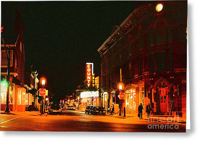 Doylestown-county Theater At Night Greeting Card by Addie Hocynec